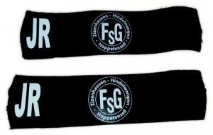 FSG Schienbeinschonerhalter, FSG Logo, wahlwiese mit oder ohne Namenskürzel, Farben: Schwarz, Weiß, Rot, Grün, Gelb, Blau, Größen: 25-27 cm oder 27-29 cm, mit Namenskürzel: 6,00 Euro, ohne Namenskürzel: 5,00 Euro